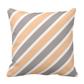 Modern Orange Gray Diagonal Stripes Polyester Throw Pillow