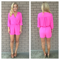 Fuschia Madison 3/4 Sleeve Romper