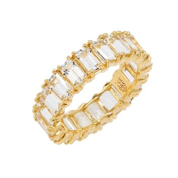 White Topaz Eternity Band 14KT