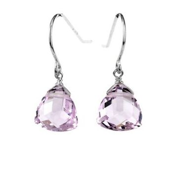 Suzanne Kalan Sterling Silver 10mm Triangle Cut Gemstone Drop Earrings