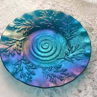 Fused Glass Dish, Iridescent Peacock Blue Oak Leaf Texture Bowl, Art Glass Serving Plate - 060