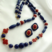 """AVON Necklace and Pierced Earrings """"Arabesque"""" Blue and Red"""