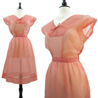 Vintage 50s Dress Sheer Pink Nylon Plisse Full Skirt Rockabilly M L