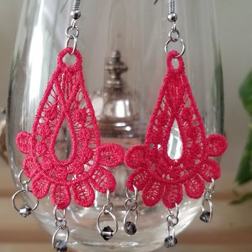 Red Embroidery Swarovski Bead Earrings