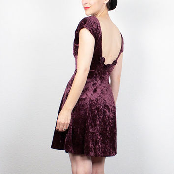 Vintage 90s Dress Crushed Velvet Dress Burgundy Oxblood Mini Dress 1990s Dress Soft Grunge Dress Skater Dress Backless Dress S M Medium L