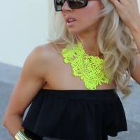 NEON yellow crochet bib statement NECKLACE By designer Justyna G