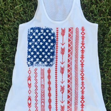 Tribal American Flag Tank Top