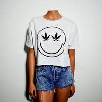 Marijuana smiley Crop Top T Shirt Black on White Women's Loose Fit Medium