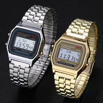 2016 Hot Multifunctional Digital Wristwatches Vintage Stainless Steel LED sports watches Stopwatch alarm clock Luminous watch