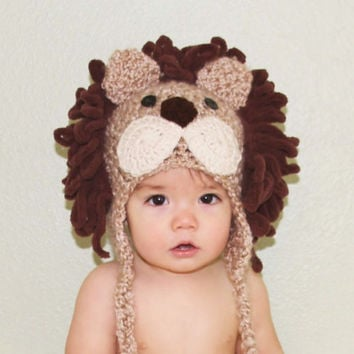 Lion Hat - Baby Lion Hat -Ready to Ship Toddler Sizes Lion Hat - Baby Halloween Costume - Cute and Soft Earflap - by JoJosBootique