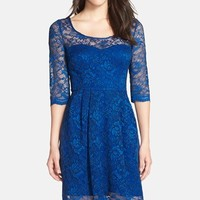 Women's Betsey Johnson Illusion Yoke Lace Fit & Flare Dress