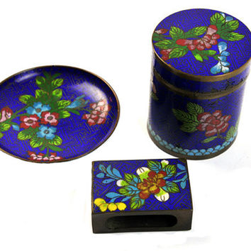 Art Deco Cigarette Set Brass and Cloisonné Tobacciana Smoker Set Cobalt Blue Office Decor Ashtray