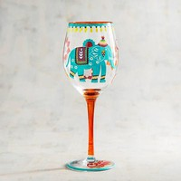 Elephant Painted Wine Glass