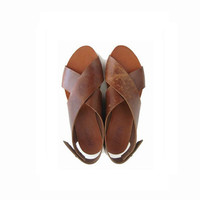 SUMMER SALE, Brown Crossed Women sandals