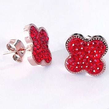 Four-leaf clover£¬ fashionable red filled with round earring, four-leaf clover studs