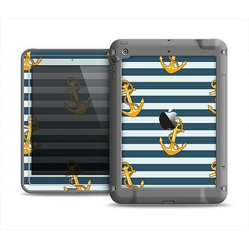The Navy Striped with Gold Anchors Apple iPad Mini LifeProof Fre Case Skin Set