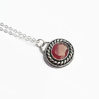 Red Onyx Boho Necklace, gypsy necklace, layering necklace, silver necklace, red gemstone necklace, hippie necklace, oval pendant, mom gifts