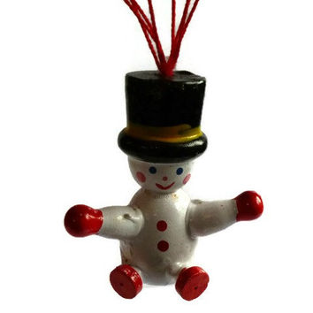 Vintage Snowman Christmas Ornament . Wooden Christmas Decoration . Wood Snow and Parachute .
