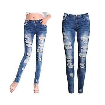 Skinny Jeans Women 2017 New Summer Style Women Jeans Fashion Holes Denim Harem Pants Ripped Jeans Woman