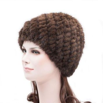 CREYCI7 Fashion autumn and winter thermal women's toe cap hat covering knitted fur mink hair pineapple hat