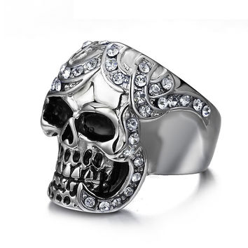 Vintage Simulated Diamond Skull Rings Europe Silver Color Stainless Steel Rings For Men Party Skeleton Ring