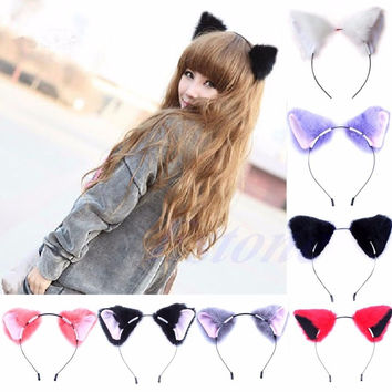Free shipping Fashion Girl Cute Cat Fox Ear Long Fur Hair Headband Anime Cosplay Party Costume