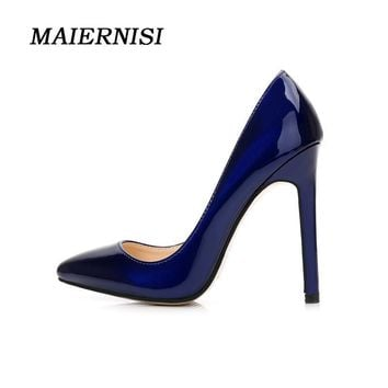 MAIERNISI Brand Women 11CM  Fetish High Heel Pointed Toe Pumps Plus Size 42 43 44 45 46 Blue Thin Heels Scarpin Valentine Shoes