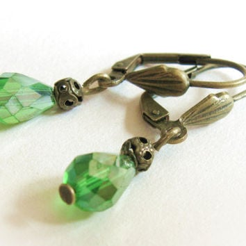 Victorian green crystal earrings, bronze hooks, teardrop beads