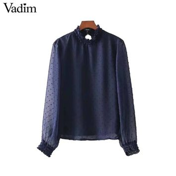 Vadim women cute polka dots chiffon shirt transpatent long sleeve ruffled pleated blouse female casual tops blusas mujer LT2629