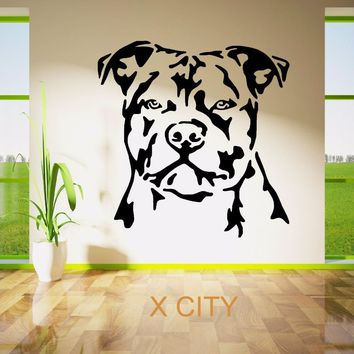 STAFFORDSHIRE BULL TERRIER DOG PET ANIMAL WALL ART STICKER VINYL TRANSFER DECAL DOOR WINDOW ROOM STENCIL MURAL DECOR