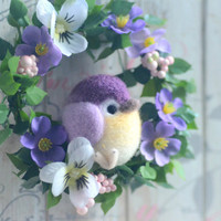 Mini bird flower wreath, needle felted bird on flower wreath, purple color bird doll home decor ornament, handmade gift under 25
