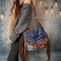 Denim jeans studded hobo bag bohemian rocker purse raw edges rugged sweetsmokebags free people vintage rocknroll rockstyle rock star metal