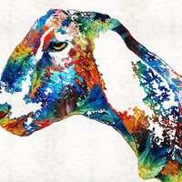 Colorful Goat Art PRINT from Painting Farm Animals Primary Colors Fun Whimsical CANVAS Ready To Hang Large Animal Kids Natural Pop Art Goats