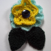 OOAK hand knitted flower brooch pin. Aqua / turquoise and yellow