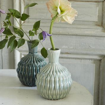 Round Mint Pleated Vase