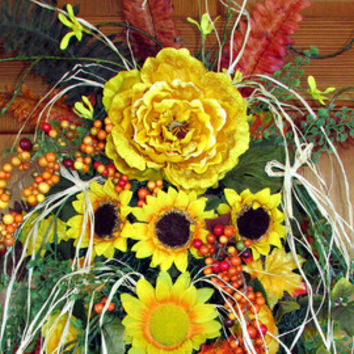 Sunflower wreath, yellow wreath swag, peony Fall swag, Autumn wreath, fall decor, front door decor, designer wreath