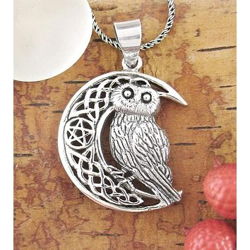 Owl with Celtic Moon & Pentacle Necklace