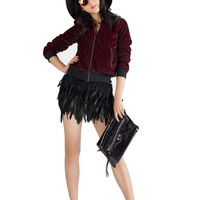 Black Feather Design Mini Skirt