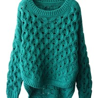 Hollow Out Cable-knit Pullover