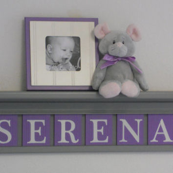 "Baby Name Sign, Purple Gray Name Blocks, Custom Letters 24"" Grey Shelf - 6 Wooden Letter Plaques Personalized - SERENA - Unique Baby Gifts"