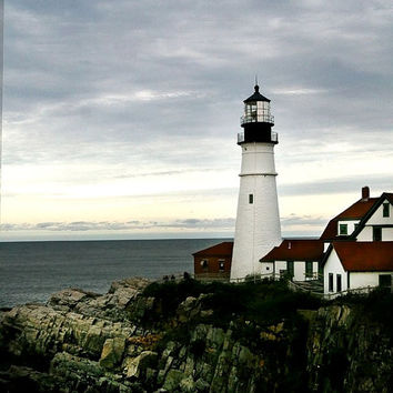 Lighthouse photo Portland Head Light  Maine Coastal art 8x10 art print Cape Elizabeth