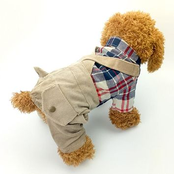 Casual Dog Clothes Pet Coat Plaid Flannel Apparel Shirt with Corduroy Pants Outfit for dog Clothing Puppy Dogs Costume 15S1