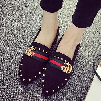 GUCCI Women Fashion Leather Rivet Pointed Toe Flats Shoes