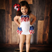 Baby Romper - 4th of July Romper - baby 4th of july outfit - Baby Sunsuit - Bubble Romper - Ruffle Bottom - Girls 4th of July Outfit