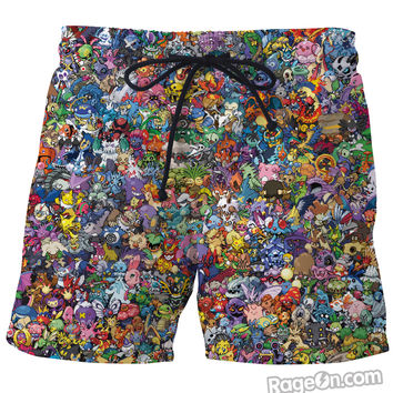 Pokemon Collage Board Shorts