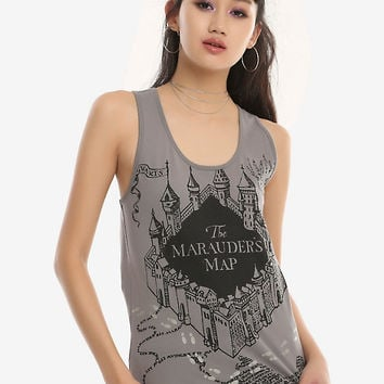 Harry Potter Marauder's Map Glow-In-The-Dark Girls Tank Top