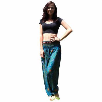 Winter Women Print Yoga Pants Loose Sports Gym Thai Harem Trousers Festival Hippy Smock Elastic Waist capris #3j05#F