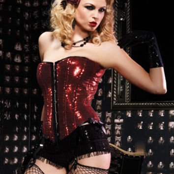Leg Avenue Burlesque Lingerie - Red Sequin Sadie Corset with Steel Front Busk Closure & Removable Garter Straps