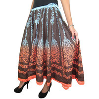 Mogulinterior Ethnic Brown Bohemian Skirt Tie Dye Printed Gypsy Long Cotton Maxi Skirts for Womens
