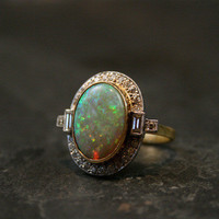 Art Deco Opal & Diamond Ring by Ruby Gray's | Ruby Gray's Antique & Vintage Rings
